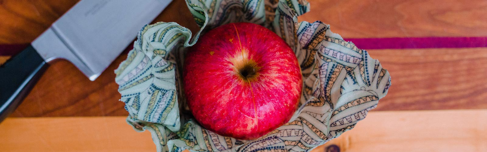 Beeswax wrap around an apple, mad in Canada on Vancouver Island by Island Reveries
