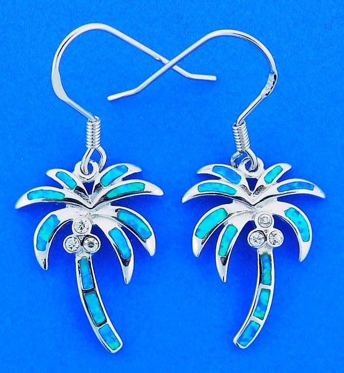Palm Tree Opal Earrings, Sterling Silver