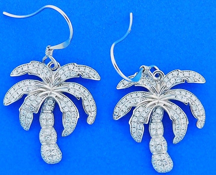 Alamea Palm Tree Cz Earrings, Sterling Silver