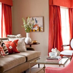 Ikea Sofa Coverings Leather Sectional Set Beige-and-coral-red-living-room-with-red-curtains-and ...