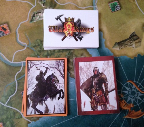 The three decks: Exploration (top), Maladorian Marauders (left), and Events (right).