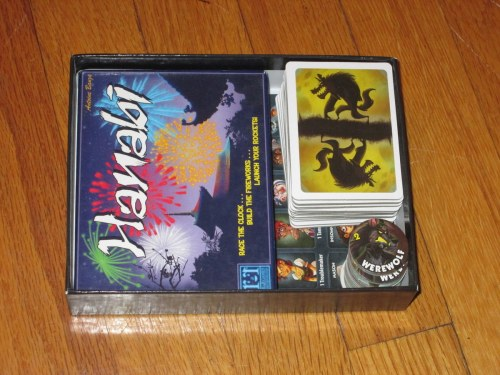 Yes, this box is bigger than it needs to be. But hey, if you need to protect Hanabi or any other card game its size, the One Night Ultimate Werewolf box is a BEAST. Seriously, it's super sturdy (for better or worse).