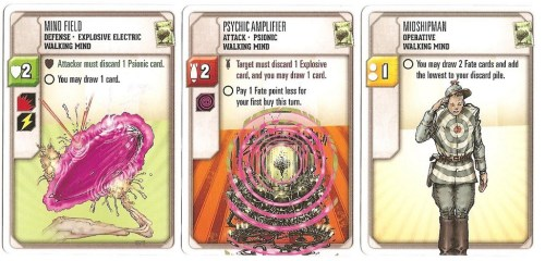 Basic cards from a starter deck: Defense (left), Attack (center), and Operative (right).