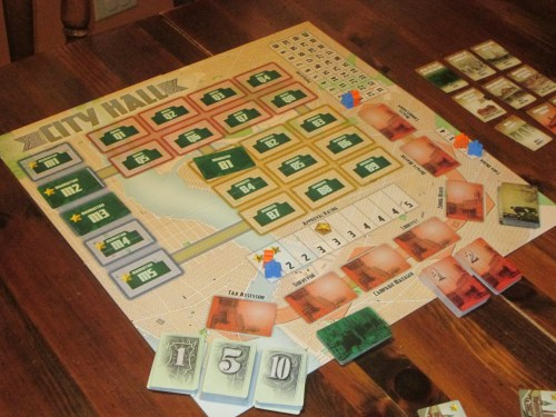 City Hall set up for two players. (All pictures in this review are of a two-player game.)