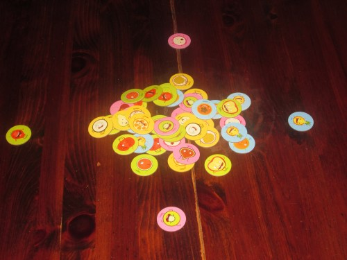 Tutti Frutti set up for four players. Yes, setup is essentially dumping the discs on the table.
