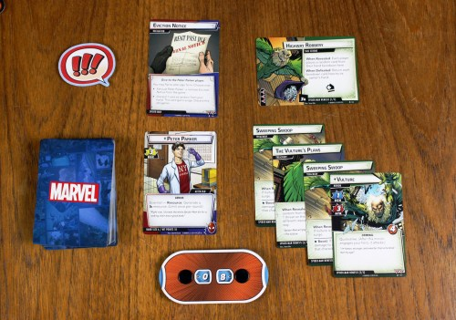 Peter Parker character card, obligation, and nemesis set