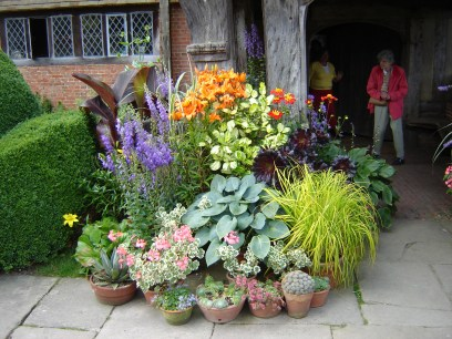 Display of pots at Great Dixter