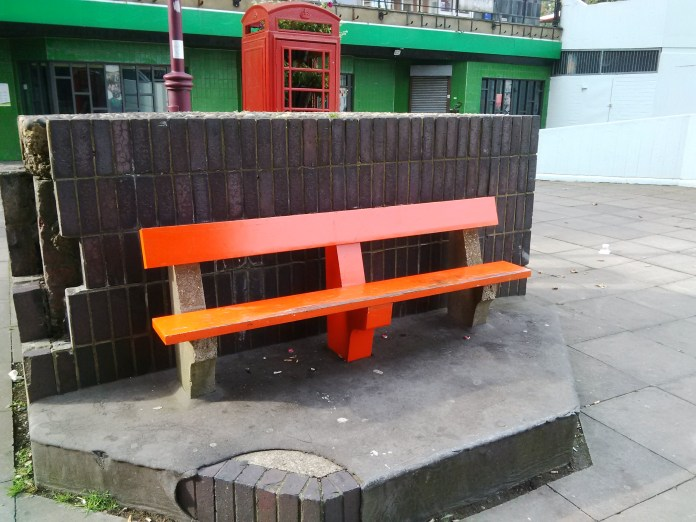 The inaugural superfix. Bench outside Archway Library.