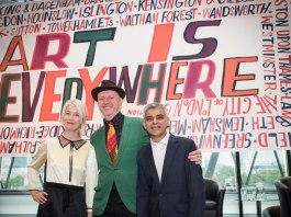 Justine Simons, deputy mayor for culture, artist Bob and Roberta Smith and London mayor Sadiq Khan. Source: London City Hall