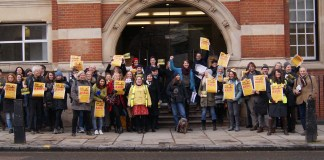 The UCU picket line outside City University today. University staff at 64 universities Including City University are striking over pensions against the UUK
