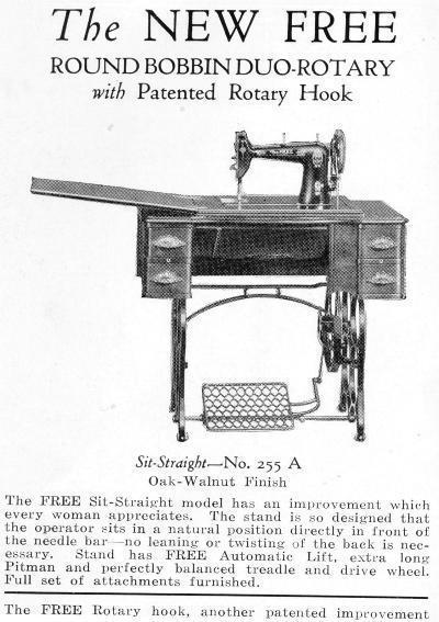 Free Model 255 A Round Bobbin Rotary Sewing Machine