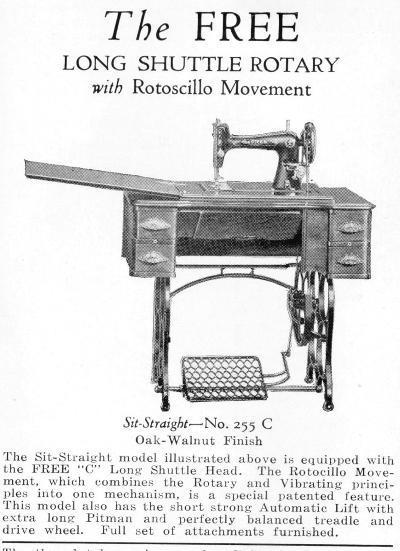 Free's Model 255 C Long Shuttle Sewing Machine