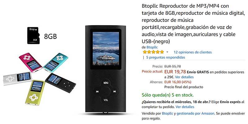 Btopllc Reproductor de MP3/MP4