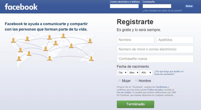 Entra en Facebook.com para crear una nueva cuenta