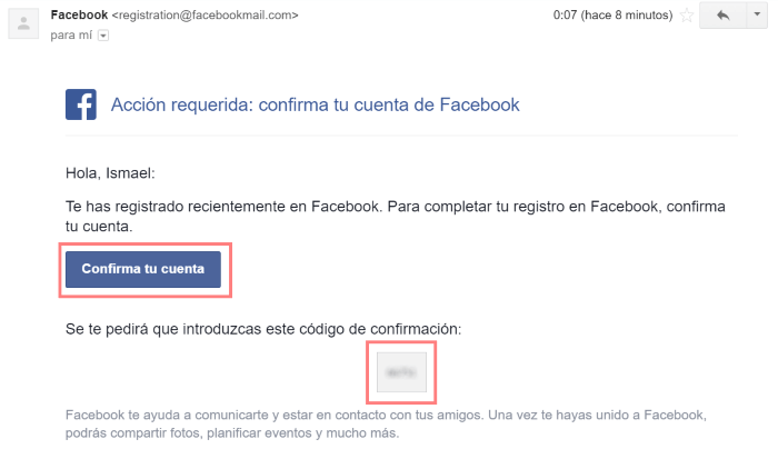Enlace para confirmar la creación de tu cuenta de Facebook