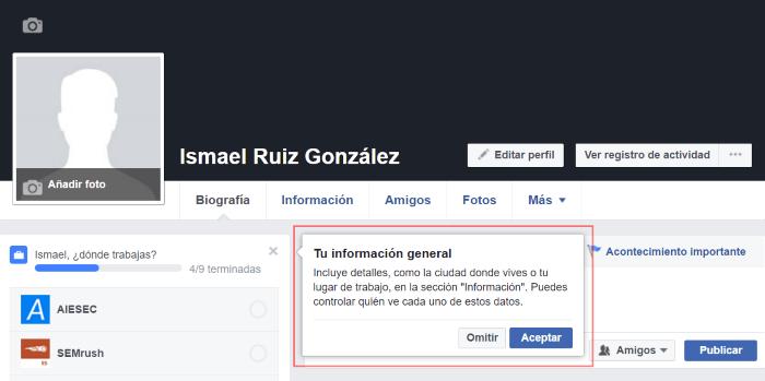optimizar mi cuenta de facebok