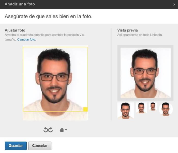 ajustar foto de perfil de linkedin