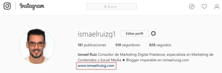 Backlink para mi blog desde Instagram