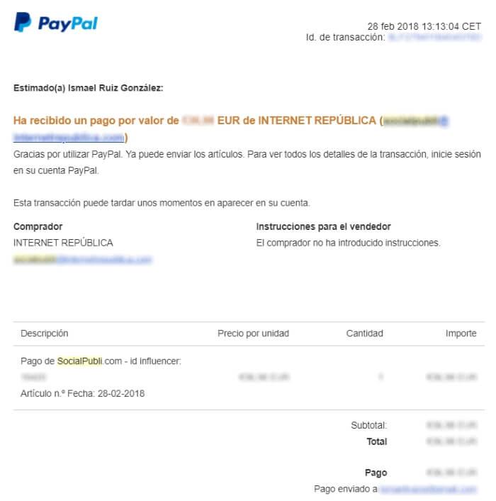 Comprobante de pago vía PayPal de SocialPubli