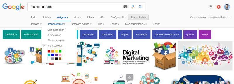 ¿Cómo buscar en Google imágenes con fondo transparente?