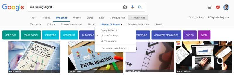 Buscar una imagen en Google subida en una fecha determinada