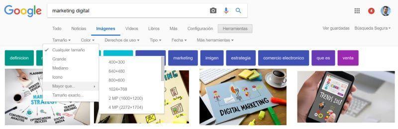 Buscar imágenes en Google de un tamaño determinado o exacto
