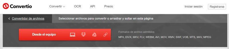 Convertio, convertidor de videos gratis
