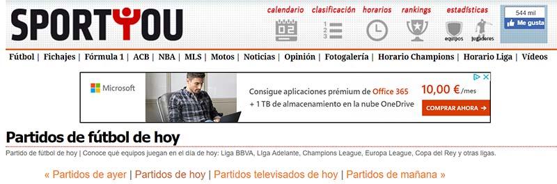 Sport You, la página para consultar el fútbol Online