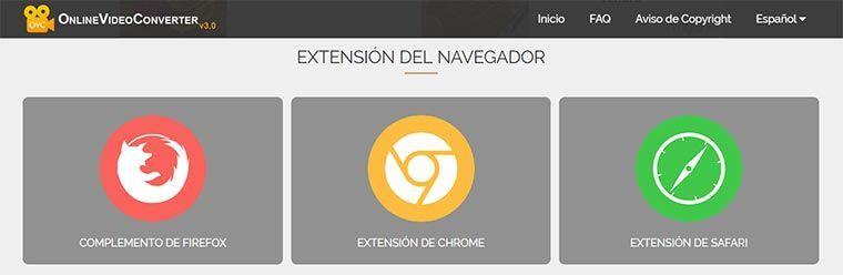 """Método 2: Cómo usar """"Online Video Converter"""" desde las extensiones para el navegador"""