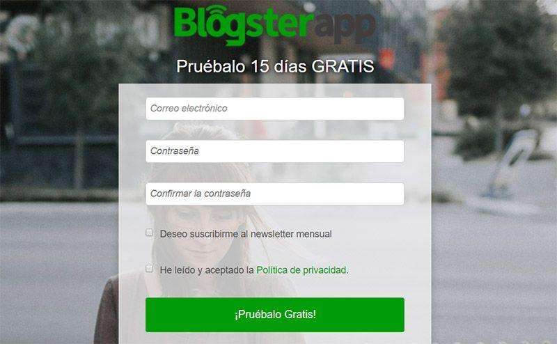 Acceso a la web oficial de BlogsterApp