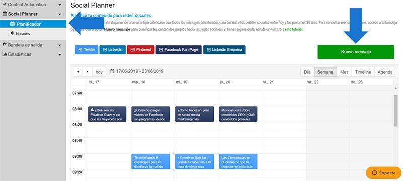 Social Planner: el planificador manual para redes sociales de BlogsterApp
