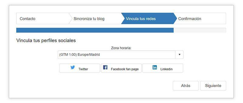 Paso 4» Vincula tus redes sociales con la plataforma
