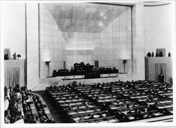 18 Assembly - 1st Session in the new hall, showing His Highness Aga Sir Sultan Muhammad Shah, Aga Khan III in the Presidential Chair. Geneva 1937 - Photo League of Nations Archive