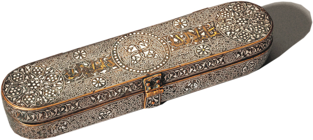 An elaborately decorated metalwork pen box. Profusely decorated with precious gold and silver inlay and engraved geometric, floral and vegetal designs, this luxury pen box would have been carried by a high-ranking individual, perhaps even a ruler. PHOTOS COURTESY: AGA KHAN MUSEUM