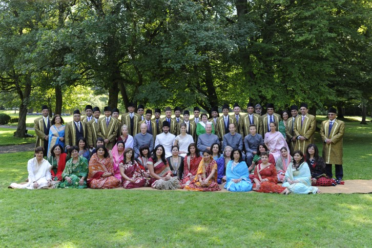 PR - 3 - Mawlana Hazar Imam, Prince Rahim, Princess Salwa and members of the Imam's family pose for a photograph with the members of the Ismaili LIF after the nikah ceremony. Photo - TheIsmaili Gary Otte