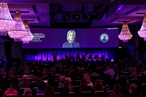 Symposium on Women's Rights and Empowerment in Afghanistan - Video Greeting from Former U.S. Secretary of State Hillary R. Clinton (Photo: Norway MFA/ Kilian Munch)