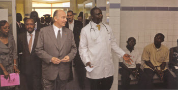 Mawlana Hazar Imam and Prince Rahim visit the medical clinic at Filtisac that serves employees and their families (Photo: The Ismaili Canada/Gary Otte)