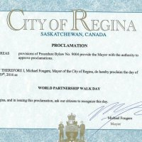 Regina's Mayor Fougere proclaims Sunday, May 29th as World Partnership Walk Day