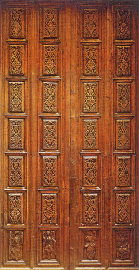 Palermo, Santa Maria dell'Ammiraglio, wooden doors with Fatimid style panels, twelfth century. Image: Jonathan Bloom, Arts of the City Victorious.