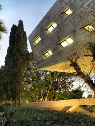 View at dusk: Aga Khan Award for Architecture 2016 Winning Project: Issam Fares Institute Beirut, Lebanon