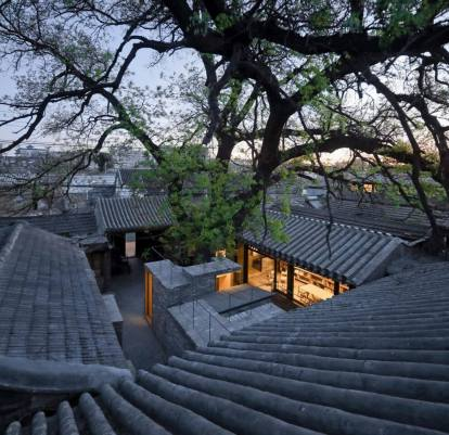 View from the roof to the courtyard. Aga Khan Award for Architecture 2016 Winner: Hutong Children's Library and Art Centre Beijing, China