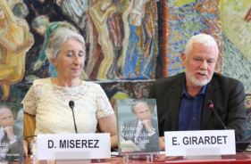 Edward Girardet with Diana Miserez during the panel discussions at the book launch of Prince Sadruddin Aga Khan: Humanitarian and Visionary (image credit: UN Library)