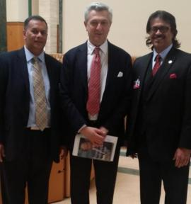 UNHCR Chief Filippo Grandi, (middle) poses for a picture with Azeem Maherali (left) and Anvar Nanji (right) (image credit: A Maherali)