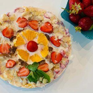 Nekeptas varškės tortas su žėlė