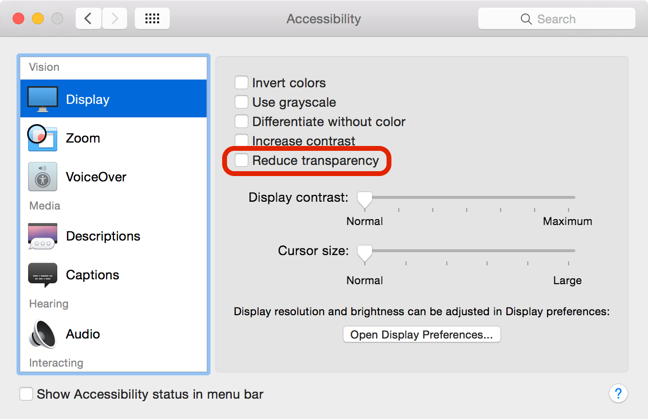 Turn off transparency in OS X Yosemite