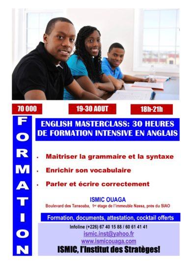 English Masterclass du 19 au 30 août à ISMIC