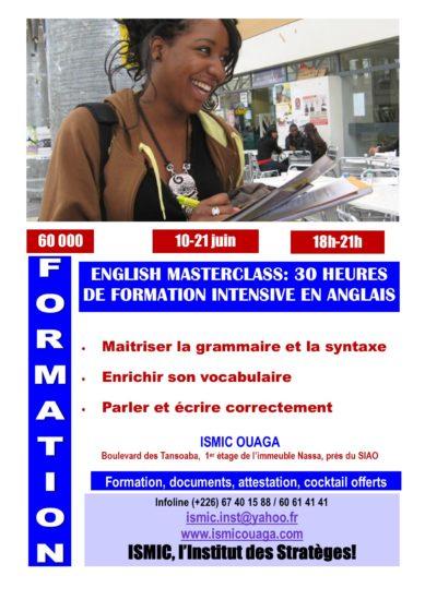 English Masterclass du 10 au 21 juin à ISMIC