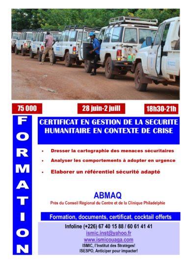 Du 28 juin au 02 juillet, devenez expert en gestion de la sécurité humanitaire