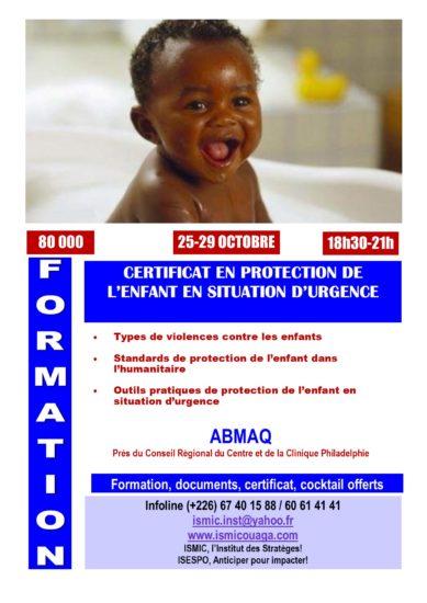 Du 25 au 29 octobre, devenez expert en Protection de l'Enfant en Situation d'Urgence