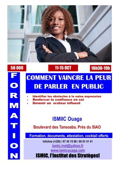 Vaincre sa peur de parler en public du 11 au 15 octobre